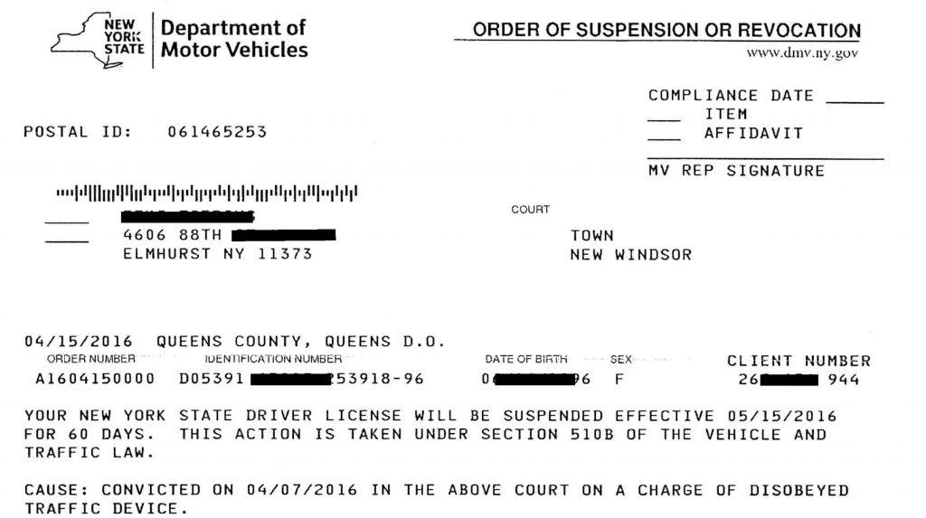 Nyc Traffic Ticket >> New York Traffic Ticket Suspensions